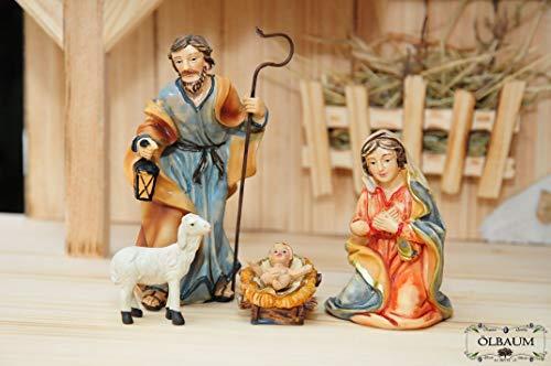 Oelbaum Krippenzubehör Maria, Josef, Jesuskind + Krippe, mit 1 Schaf extra, bis 7 cm, hochwertige Ausführung mit liebevoller Mimik, Krippenfigur, Krippenfiguren für Weihnachtskrippe