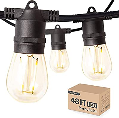 Amico 48FT LED Outdoor String Lights with Waterproof Edison Vintage Plastic Bulbs for Patio, Bistro, Cafe Decor - Low Voltage, Warm White