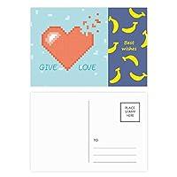 心が消えて画素を与える愛 バナナのポストカードセットサンクスカード郵送側20個