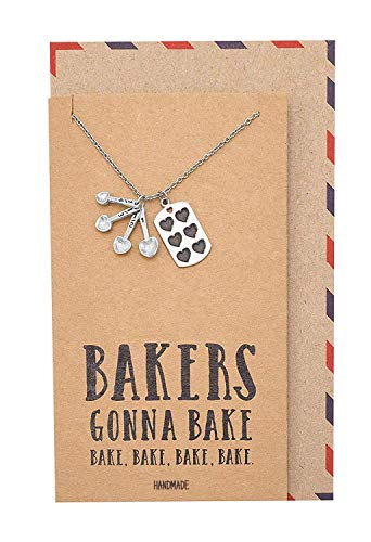 Quan Jewelry Gifts for Mom Measuring Spoons Pendant Necklace, Funny Baking Pun Quote Card, Stainless Steel, 16 inches to 18 inches