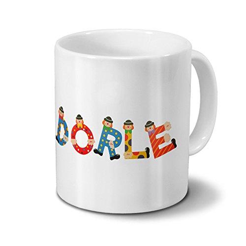 Tasse mit Namen Dorle - Motiv Holzbuchstaben - Namenstasse, Kaffeebecher, Mug, Becher, Kaffeetasse - Farbe Weiß