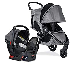 Britax B-Free Sport Travel System with B-Safe Endeavors Infant Car Seat | All Terrain Tires + Adjustable Handlebar + Extra Storage with Front Access + One Hand, Easy Fold, Asher Grey