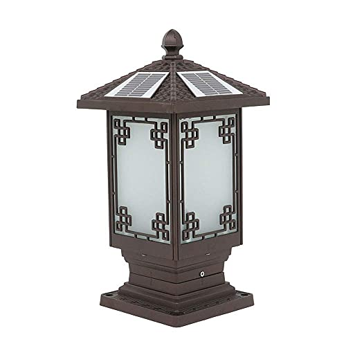 Lámpara tradicional de estigma solar LED de pilar de luz IP55 impermeable a prueba de herrumbre luces de jardín fundición a presión aluminio decorativo Villa paisaje linterna con control remoto