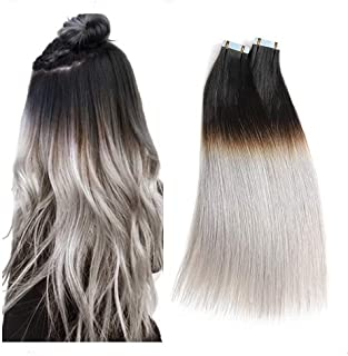 Rinboool Black Ombre Tape In Hair Extensions,14 Inch 40g,Pre-taped 4 cm x 0.8 cm Double Sided Regular Adhesive,100 Real Brazilian Remy Human Hair, Natural Black Roots Fading To Lightest Grey