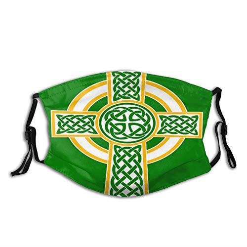 St.Patrick's Day Celtic Cross Cloth Face Mask Washable Reusable-Adjustable Dust Face Cover Unisex Adult for Men Women