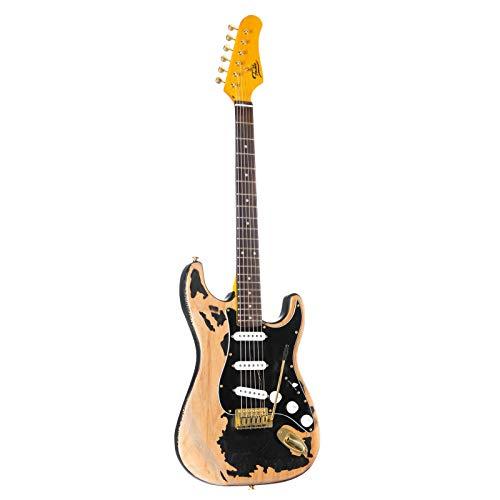 Fame E-Gitarre im ST-Stil mit Erle-Korpus, Keramik Single Coil, Worn Out Schwarz, Vintage Style