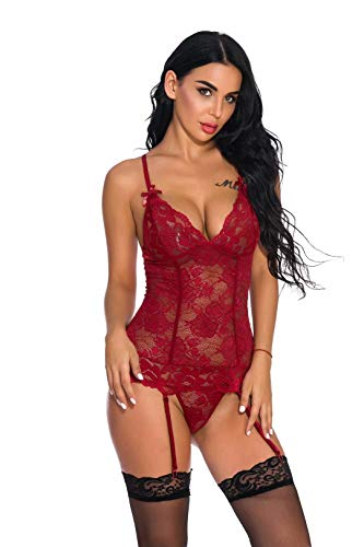 HESVIONE Women Hot Sexy Lingerie Set and Garter Belt with Stockings 4 Pieces Bra and Panty Set, Wine Red02, Large