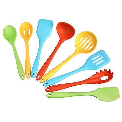 AmazonCommercial - Lote de 8 utensilios de cocina de silicona antiadherente y resistentes al calor - Varios colores