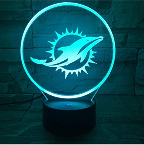 GEZHF Miami Dolphins Night Lamp Bedroom USB Touch Kids Children Gift Team Logo Led Night Light American Football
