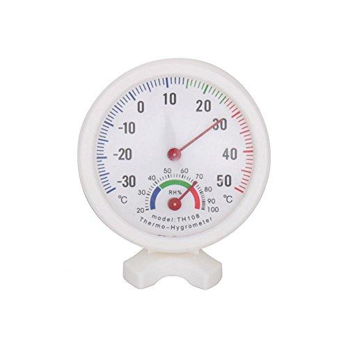 TH-108 Medidor de humedad y temperatura Mini reloj portátil en forma de 2 en 1 Medidor de temperatura higrómetro analógico para interiores y exteriores Termómetro de aguja y dial redondo Blanco -30 ~