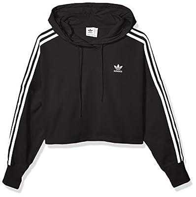 adidas Originals Women's Cropped Hooded Sweatshirt, black, Medium