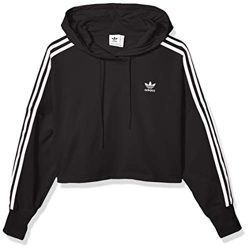 adidas Originals Women's Cropped Hooded Sweatshirt, black, Medium