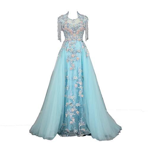 BINGQZ Feestjurk/Lichtblauw Avondjurken Plus Size Tule 3D Appliques Lange Formele Jurken Gowns Kralen Mouwloos Avondjurk