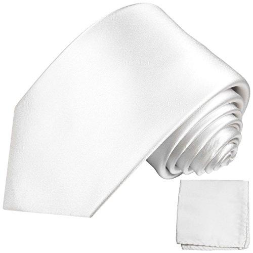 Cravate homme blanc uni ensemble de cravate 2 Pièces (longueur 165cm)