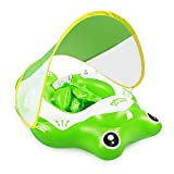 Baby Swimming Pool Float with Removable Canopy - Baby Inflatable Pool Floatie Baby Water Float Infant Swim Pool Rings with Safe Bottom Support & Swim Buoy Float for Toddler Kid Age 3-30 Months Large