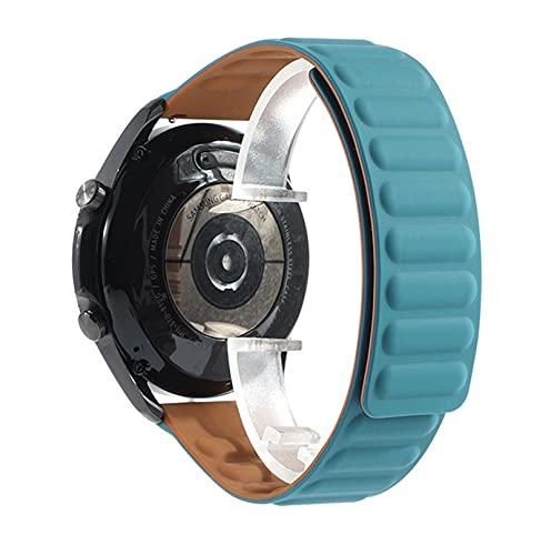 LXFFCOK Correa magnética de 20 mm, 22 mm, para Galaxy 46 mm, 42 mm, Watch3, 45 mm, Gear S3 Active 2, correa de silicona para reloj Huawei (color de la correa: azul capa, ancho de la correa: 20 mm)