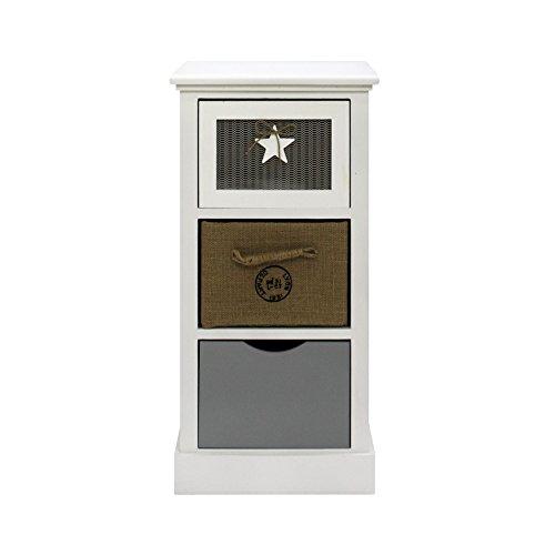 Rebecca Mobili Komoda z szufladami stolik nocny biały beżowy szary drewniany materiał sypialnia łazienka - 69 x 34 x 29 cm (wys. x szer. x gł.) - sztuka RE6124