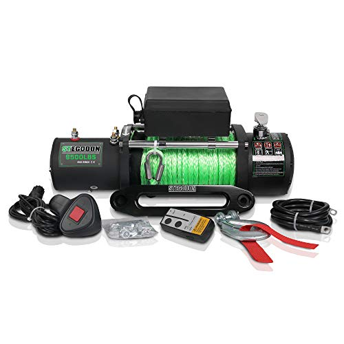 STEGODON 9500 lb. Load Capacity Electric Winch,12V Waterproof IP67 Electric Winch with Hawse Fairlead, Synthetic Rope Winch with Wireless Handheld Remote and Wired Handle