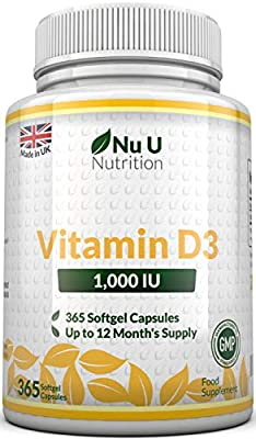 Vitamin D3 365 Softgels (Full Year Supply) 1000IU Vitamin D3 Supplement, High Absorption Cholecalciferol by Nu U Nutrition from Nu U Nutrition