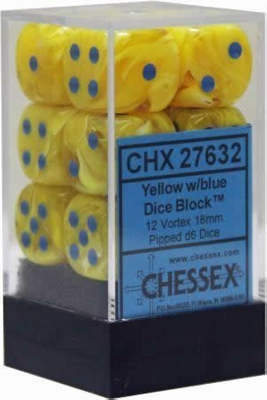 Chessex dés d6 Vortex jeux   blu gituttio 16 mm 6 Pans 12 bloc de pression dés
