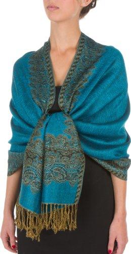 Sakkas Border Pattern Layered Reversible Woven Pashmina Shawl Scarf Wrap Stole - Turquoise