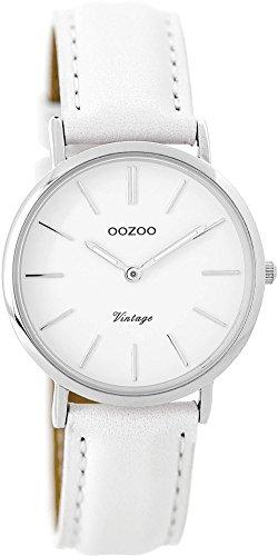 Oozoo Vintage Damenuhr Lederband 32 MM Weiss/Weiss C9313