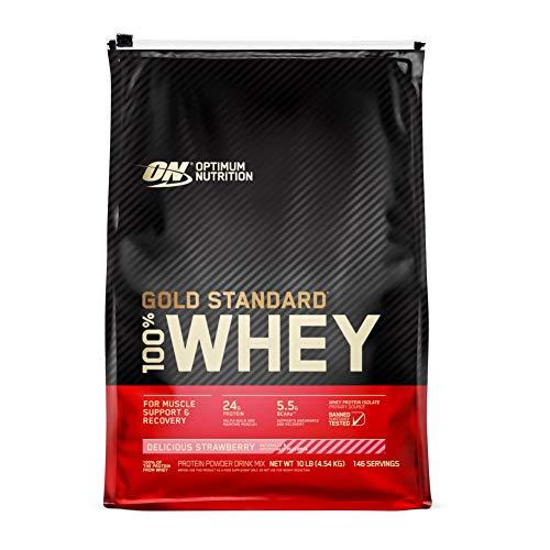 Optimum Nutrition ON Gold Standard Whey Protein Pulver, Eiweißpulver Muskelaufbau mit Glutamin und Aminosäuren, natürlich enthaltene BCAA, Delicious Strawberry, 154 Portionen, 4.54kg