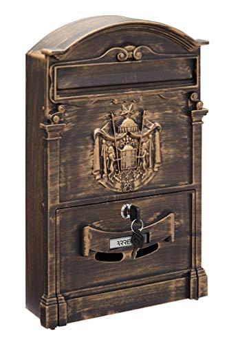 Arregui Residencia D-2151/B Individueller Briefkasten aus Aliminium im klassischen Stil, Größe M (DIN A4), Bronze, 42 x 26 x 9 cm