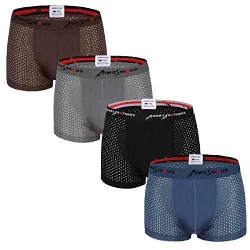 RTSM ボクサーパンツ ボクサーブリーフ メンズ 4枚セット メッシュ パンツ 下着 蒸れない 通気性 高伸縮 肌触り速乾 吸湿 (ブラック、ネイビー、グレー、ブラウン, XXL)