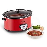 Klarstein Bankett - Slow Cooker, 6,5 litri, 320 watt elemento riscaldante, timer regolabile, interno in ceramica, Coperchio in vetro, Funzione riscaldamento, Alimentazione propria, rosso