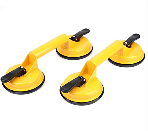 Yesland 2 Pack Glass Suction Cups - Heavy Duty Iron Puller/Lifter/Gripper Double Vacuum Handle Plate/Holder Hooks - for Lifting Glass/Floor Gap Fixer