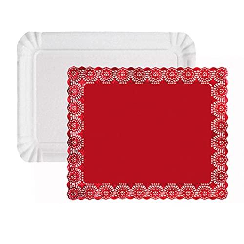 Pack 6 bandejas rectangular de cartón blanca con blonda roja 25 x 35 cm para pasteles ideal repostería