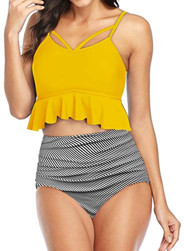 Gabrielle-Aug Women's Retro Two Pieces High Waisted Ruffle Bikini Set Flounce Falbala Swimwear Bathing Suit (Stripe, 8) - Buy Online in Bahamas. | gabrielle-aug Products in Bahamas - See Prices, Reviews and