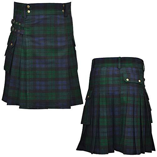 Black Watch Wool Blend Tartan Utility Kilt for Mens Traditional Irish Wear Scottish Highlander Kilts Game (36 Inch Around Natural Waist, Green)