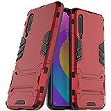 Hülle für Xiaomi Mi 9 Lite/Mi A3 Lite/Mi CC9 (6,39 Zoll) 2 in 1 Hybrid Dual Layer Shell Armor Schutzhülle mit Standfunktion Hülle (Rot)