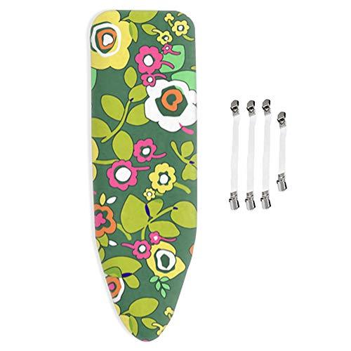 ZYRSMM Bügelbrettbezug mit 4mm dickem Filz, passend für alle großen und extra großen Bügelbretter, grüne Blume, mit 4 Clips - 160x60cm