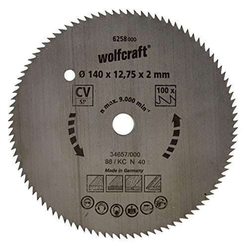 Wolfcraft 6258000 - Disco de sierra circular CV, 100 dient., serie azul Ø 140 x 12,75 x 2 mm