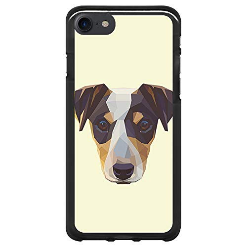 BJJ SHOP Custodia Nera per [ iPhone 7 / iPhone 8 ], Cover in Silicone Flessibile TPU, Design: Jack Russell Terrier, Cane Astratto