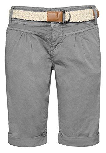 Fresh Made Damen Bermuda-Shorts in Pastellfarben mit Gürtel Light-Grey XXL