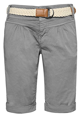 Fresh Made Damen Bermuda-Shorts in Pastellfarben mit Gürtel Light-Grey S
