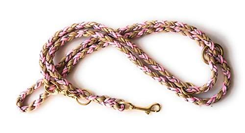 Viva Nature Handgeflochtene Paracord Hundeleine/verstellbare Führleine/Flechtleine/Funktionsleine Doppelleine ca.2m 3 Ringe/Hunde/Leine / (rosa beige Messing)