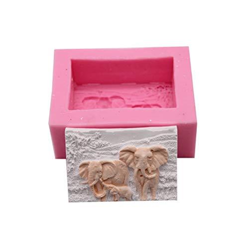 GEYKY 3D Elefant Kuchenform Quadratische Form Silikonform Werkzeuge DIY Kerze Handwerk Aroma Gips Dekortieren Lieferungen