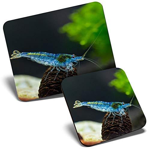 Juego de alfombrilla de ratón y posavasos – azul Aura camarón pecera tanque de camarones 23,5 x 19,6 cm y 9 x 9 cm para ordenador y portátil, oficina, regalo, base antideslizante #44351