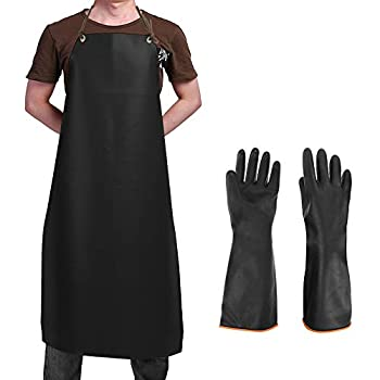 Heavy Duty PU Apron & Latex Gloves DaKuan Waterproof Resist Strong Acid Alkali and Oil Apron & Gloves Best for Staying Dry When Dishwashing Lab Work Butcher