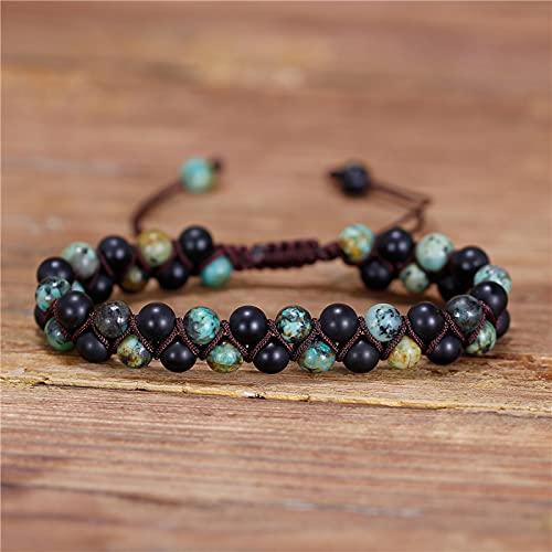Boilyo Black Stone Natural Beaded Macrame Pulsera Boho Braided Bracelets Pulsera de Envoltura con Cuentas para Hombre Boho Hecho a Mano Dropship (Metal Color : Women-6.7 Inches)