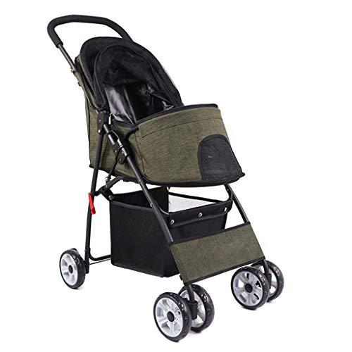 BTIR Pet kinderwagen reizen, hond Puppy Pram jogger met 4 wielen, trolley houder met gesp voor auto, kinderwagen, Leger Groen