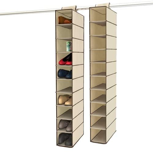 Organizador de Zapatos para Armario con 10 compartimentos (PACK 2) – Estanterías para ropa, bolsos o carteras para ahorrar espacio interior extensible - Colgador de zapatillas de tela para Almacenar