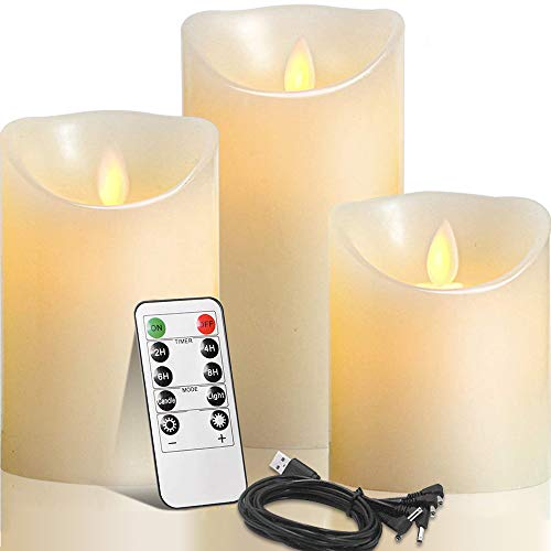 Rechargeable Flameless Candles,Autbye LED Flickering Candles Tealights Pillar Candles Sets with Adjustable Brightness and Timing Remote, 4in 5in 6in Pack of 3