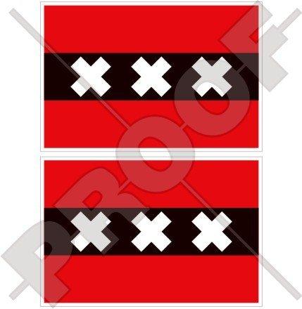 Amsterdam Flagge Niederlande, North Holland, Nederland (Dutch 10,2cm (100mm) Bumper Sticker, Aufkleber Vinyl X2