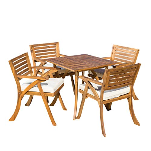 Christopher Knight Home Hermosa Acacia Wood Dining Set, 5-Pcs Set, Teak Finish